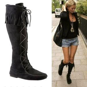 Tall Minnetonka black lace up moccasin boot